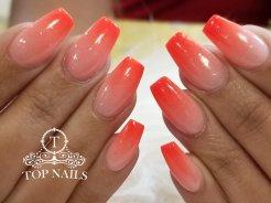 SNS dip powder ombre nails, color S36 & Neon 5