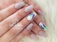 SNS dip powder nails, matte top with designs