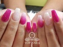 No primer, no monomer, healthy SNS dip powder nails by Koi. Color OM27A & Glitter 1.