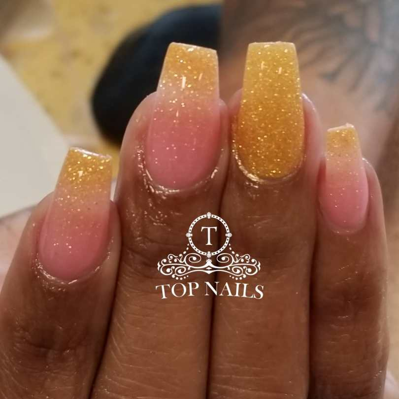 SNS Dip power ombre pink and gold glitter