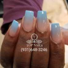 Nude to baby blue ombre nails