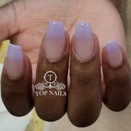 Ombre nude and lavender.