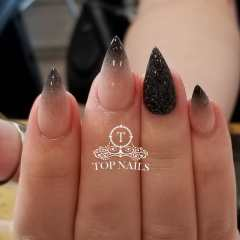 Ombre nails, nude and glitter black