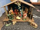 Vintage Nativity Paper Mache Set Japan Lighted Musical Silent Night In Sears Box