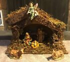 Vintage Sears Nativity Set Made In Italy 6 Figures And Manger