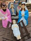 Empire Blow Mold 4 Pc Nativity Lighted Baby Jesus Mary Joseph Christmas 28 Box