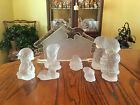 Rare Vintage Goebel Glass Nativity Set Frost Glass Complete Set 8 Pieces