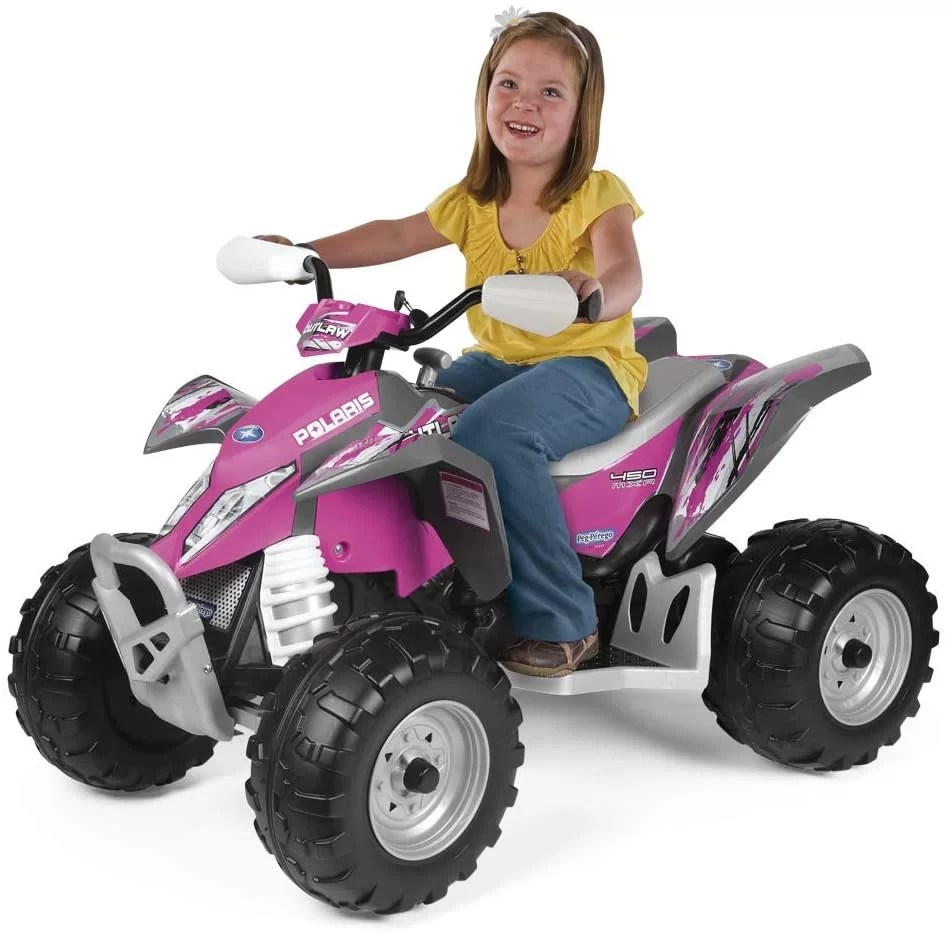 Polaris Outlaw Power wheel (12V Battery Powered Electric ATV with High / Low-Speed. Comes with 2 colors: Pink and Citrus)