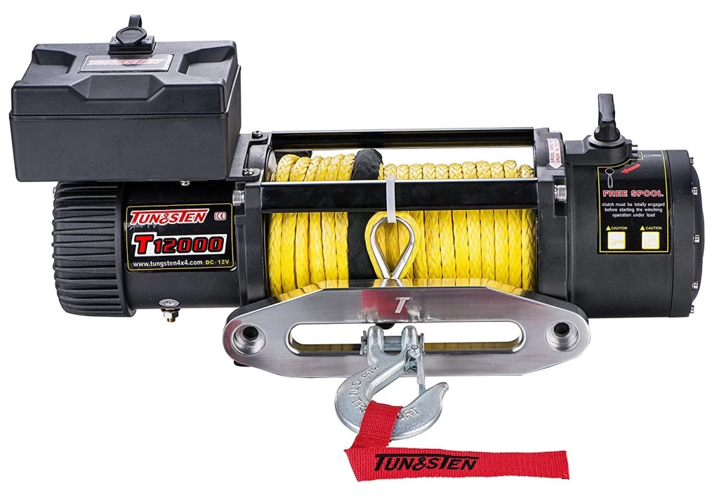 Tungsten4x4 T12000S Electric Winch (12000 lbs Load Capacity with Synthetic Rope, Hawse Fairlead, and Handheld Remote)
