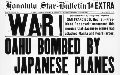 """Газета от 7 декабря 1941 года: """"Война! Оаху разбомбили японские самолеты"""""""