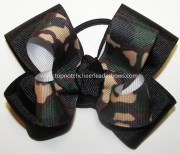 green camouflage pigtail hair bow