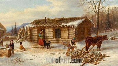 Habitant Homestead In Winter C 1860 Cornelius Krieghoff Painting Reproduction