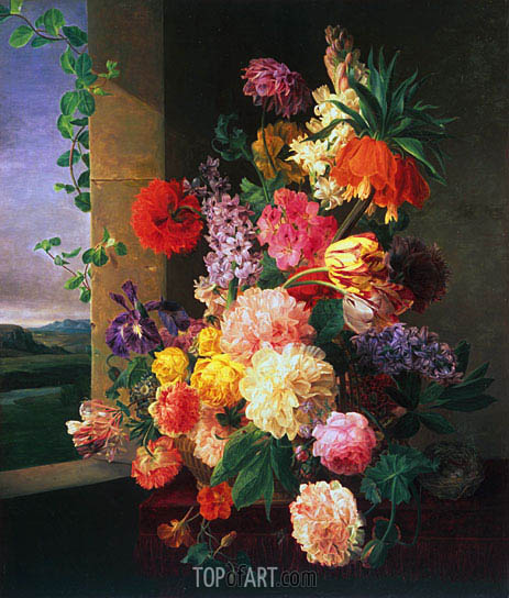 Flowers Before a Window  van Dael  Painting Reproduction