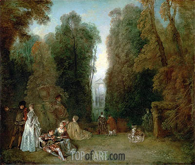 View through the Trees in the Park Pierre Crozat - Jean Antoine Watteau - Painting Reproduction