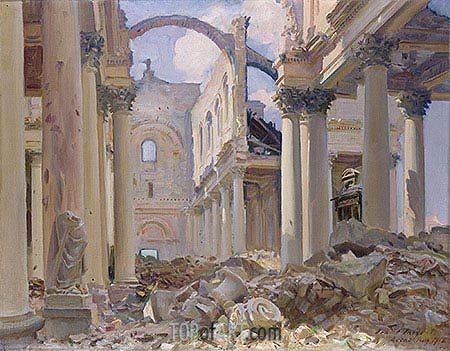 Ruined Cathedral Arras  Sargent  Painting Reproduction 15335  TOPofART