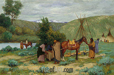 Setting up Camp Little Big Horn Montana  Joseph Henry