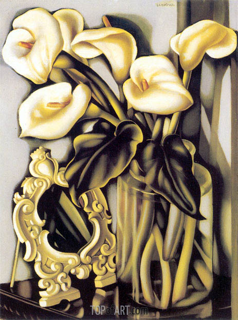 Still Life with Arums and Mirror  Lempicka  Painting