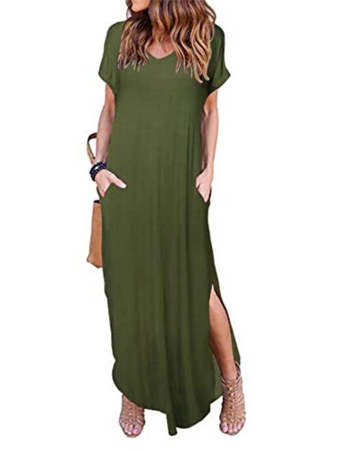 Buy HUSKARY Women's Summer Maxi Dress Casual Loose Pockets Long Dress Short  Sleeve Split online | Topofstyle