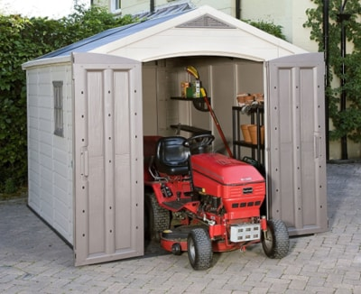Keter Factor Large 8x11ft Resin Outdoor Yard Garden Storage Shed Taupe Brown