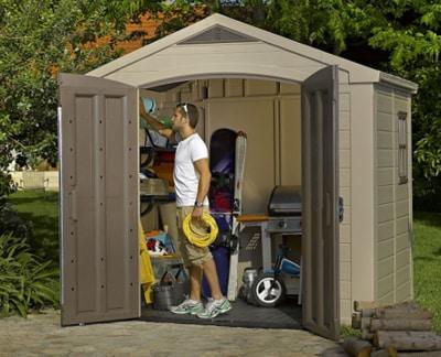Keter Factor Large 8x6ft Resin Outdoor Backyard Garden Storage Shed