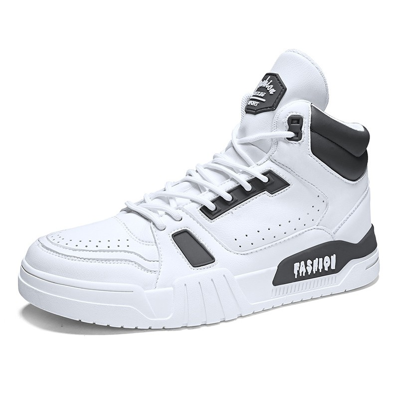 2020 White-Grey High Top Elevator Skateboarding shoes for ...