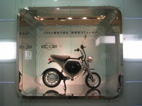 Yamaha's Electric Commuter EC-02, on display near Aqua City