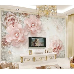 3D Pink Floral Wall Mural Wall