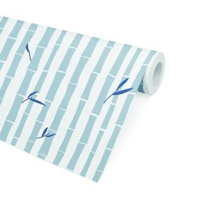 BAMBOO BLUE Peel and Stick Wallpaper By