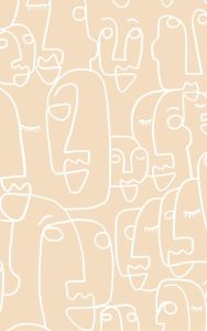 Large Nude Face Line Drawing Wallpaper