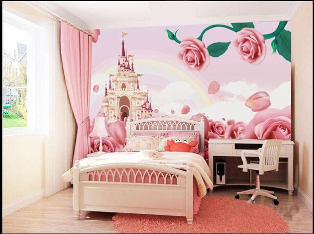 12.0US $ 60% OFF|Custom papel DE parede infantil, pink roses and castle wall murals for children room sofa, the bedroom  fabric papel DE parede|rose wall mural|mural wallrose tube - AliExpress