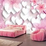 3D White Hearts Pink Flowers Wall Mural Wallpaper for Walls