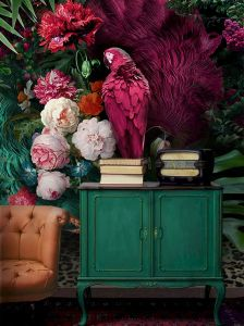 Pink Parrot with Colorful Floral Wallpap