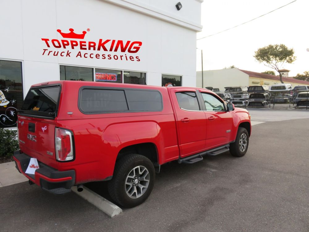 medium resolution of gmc canyon ranch sierra fiberglass topper and a custom hitch by topperking in brandon fl