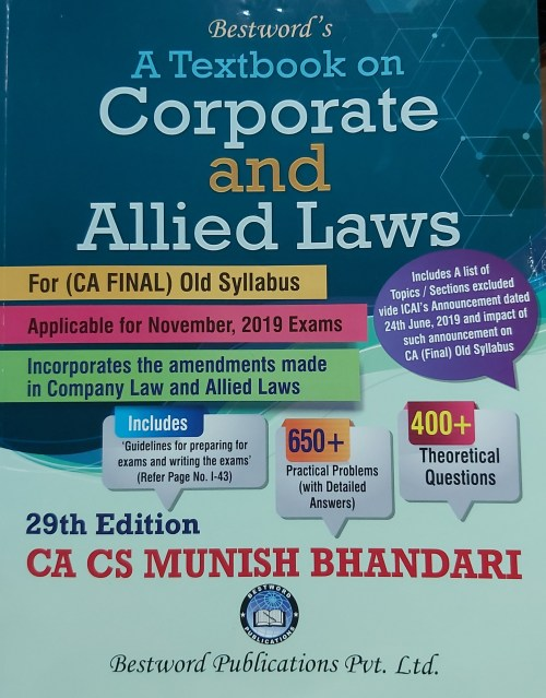 Bestword's A Taxtbook on Corporate and Allied Laws 29th Edition July-2019