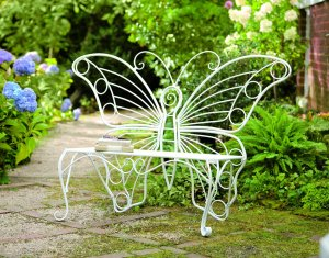 Plow & Hearth Weather-Resistant Butterfly Garden Bench, Metal - White - 60¼L x 17¾D x 39½H