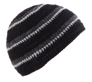POM London Handmade Crochet Beanie Skull Hat (Black, Charcoal, Gray)