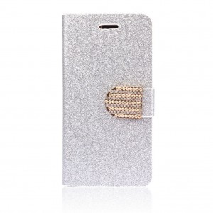 Tonsee Cool Bling Glitter Wallet Flip Leather Case For iphone 6 Plus 5.5 (Silver)