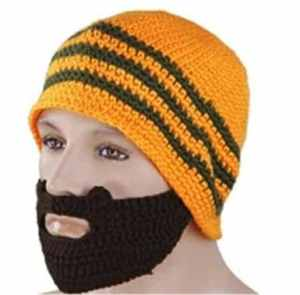 Vwhite Mens Winter Skull Knit Crochet Stripe Beard Mask Slouch Snowboard Hat Cap