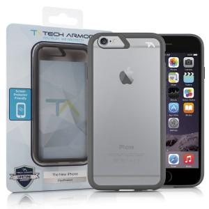 iPhone 6S Plus Case, Tech Armor Apple iPhone 6 Plus (5.5 inch ONLY) - FlexProtect Air Space GreyClear Fingerprint & Scratch Resistant Lifetime W