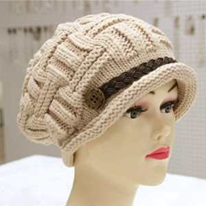 Ibeauty(TM) Masione Slouch Beanies Button Hats Knitted Crochet Baggy Beret Cap Hat for Women Winter Ski Party (Beige)