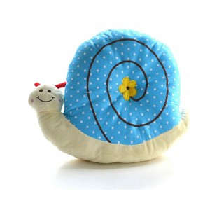 17.55inch Cute Smile Snail Shaped Plush Doll Creative Throw Pillow with Yellow Flower Blue Kids Toy Birthday Gift