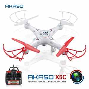 AKASO X5C 4CH 2.4GHz 6-Axis RC Quadcopter with HD Camera, Gyro Headless, 360-degree 3D Rolling Mode 2 RTF RC Drone ( Bonus Micro