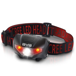 BYB E-0461 LED Camping Headlamp, 4 Modes for Usage, 2 Red Lights Steady for Preserving Your Night Vision, Water Resistant and Shockproof Design for Camping,