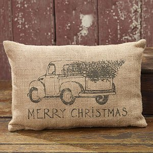 Burlap Truck Merry Christmas Pillow - Tree - Cute Gift Idea - Decor Decoration