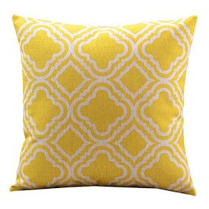 Createforlife Cotton Linen Decorative Throw Pillow Case Cushion Cover Argyle Pattern Lemon Square 18