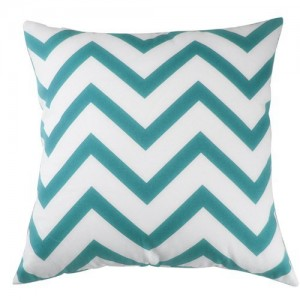 Decorative Throw Pillow Cover Canvas Cotton Chevron Design 18 X 18 in. (Aqua Blue)