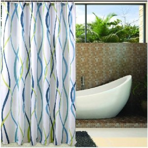Eforgift Decorative Striped Print Shower Curtain Polyester Bath Curtain Fabric Waterproof Mildew Free 72 Inch By 72 Inch, Blue White