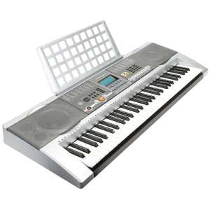 Hamzer 61 Key Electronic Music Electric Keyboard Piano with USB MP3 Playback - Silver