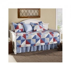 Modern Cotton Red Blue White Geometric Daybed Bedding Set with Shams (daybed) Includes Scented Candle Tarts