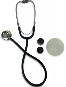 Primacare DS-9290-BK Classic Series Adult Dual-Head Stethoscope, 22 PVC Tubing Length, Black